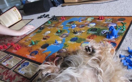 Bonnie takes a roll across our neatly-set game board.