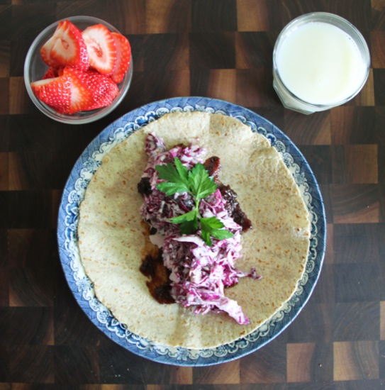 BBQ Tempeh Wrap with Creamy Coleslaw