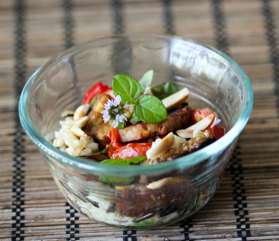 Wild Rice Tempeh Salad with Roasted Tomatoes & Fresh Mint