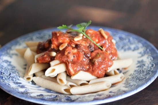 Spicy Whole Grain Pasta with Sweet Raisins and Toasted Pine Nuts