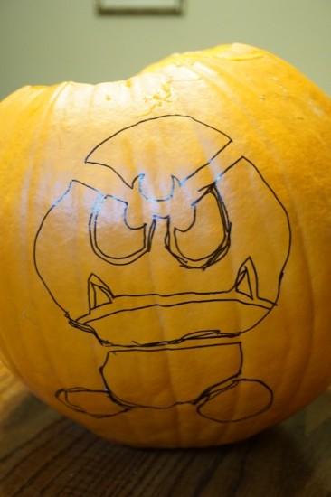 Goomba Halloween pumpkin