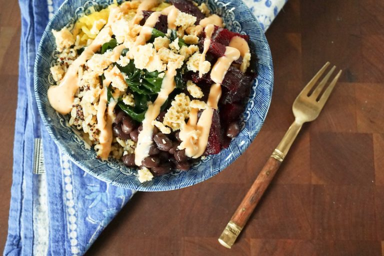 Black Bean Power Bowl with Roasted Beets and Quinoa