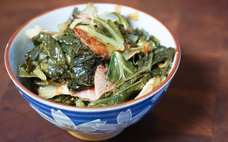 Sweet Collard Greens with Smoky Bacon