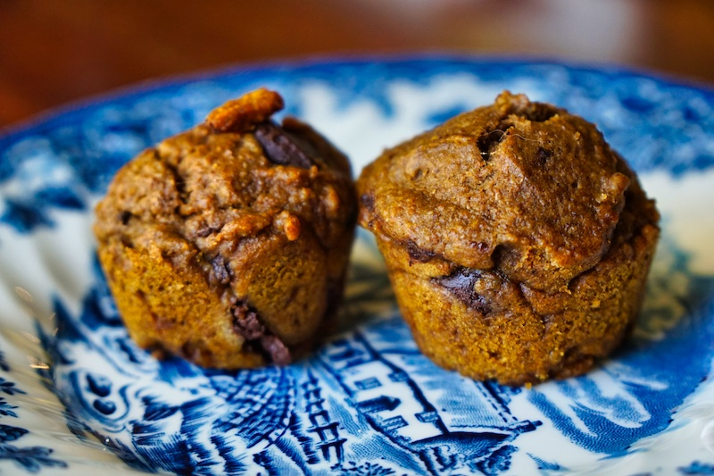 Spiced Pumpkin Chocolate Chip Muffins | Jessie @ The Happiness in Health